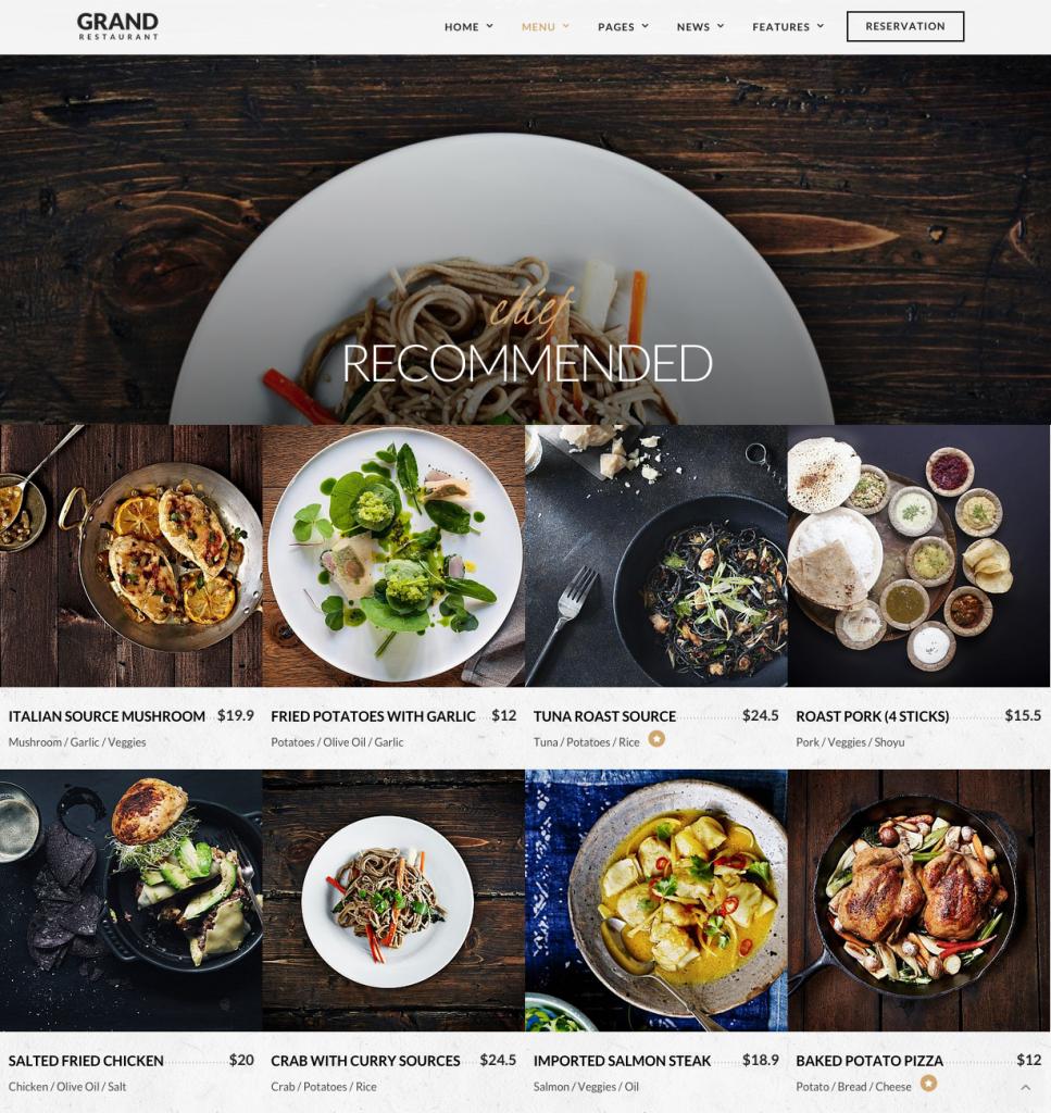 Our Menu Mixed   Grand Restaurant   Restaurant Theme
